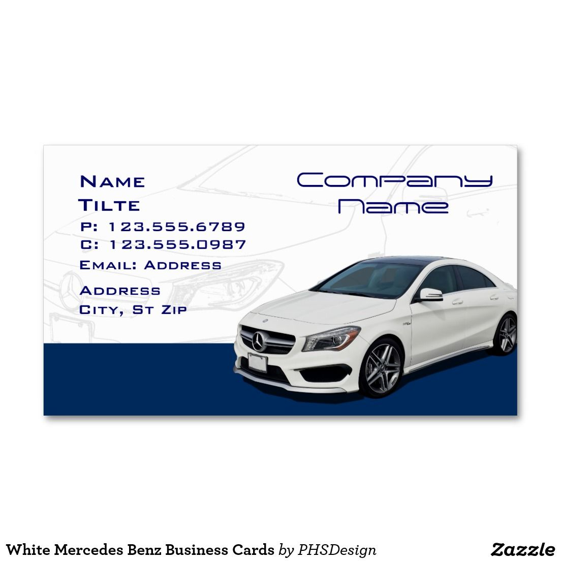 White Mercedes Benz Business Cards Business Card Templates