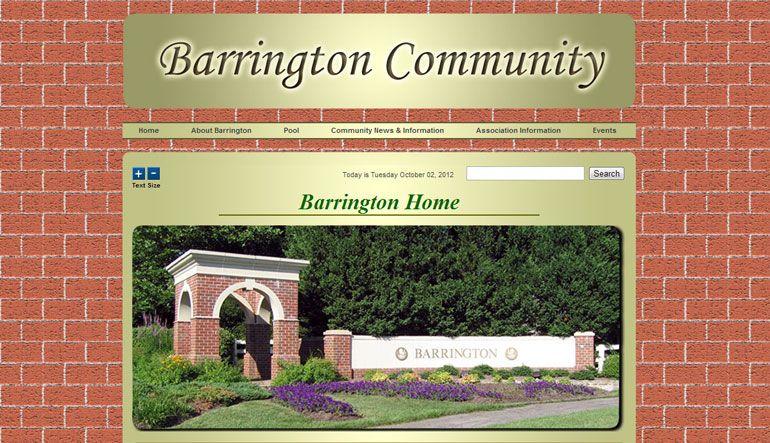 Barrington Homeowners Association Is A Non Profit Organization That Manages The Barrington Community In F Custom Website Design Website Design Barrington Homes