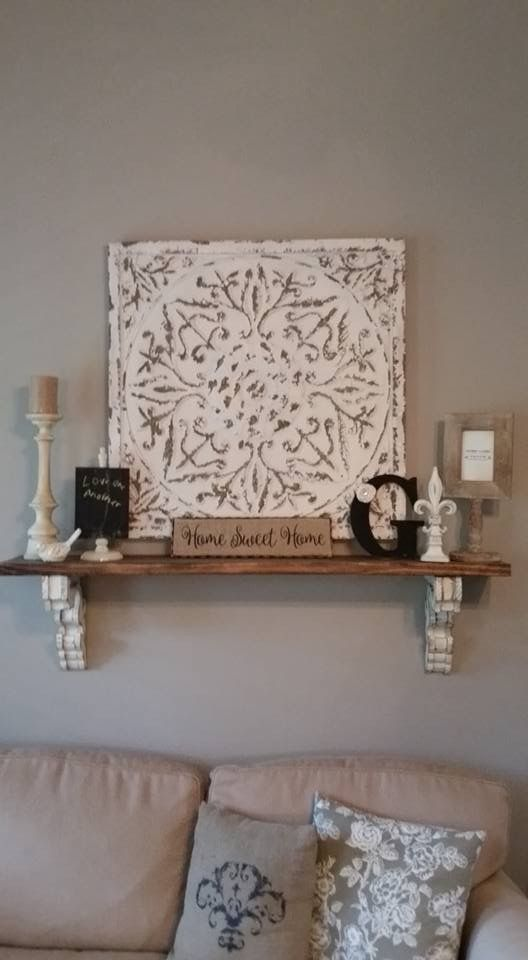 DIY corbel shelf. Repurposed wood. Shelf and wall decor. Farmhouse ...