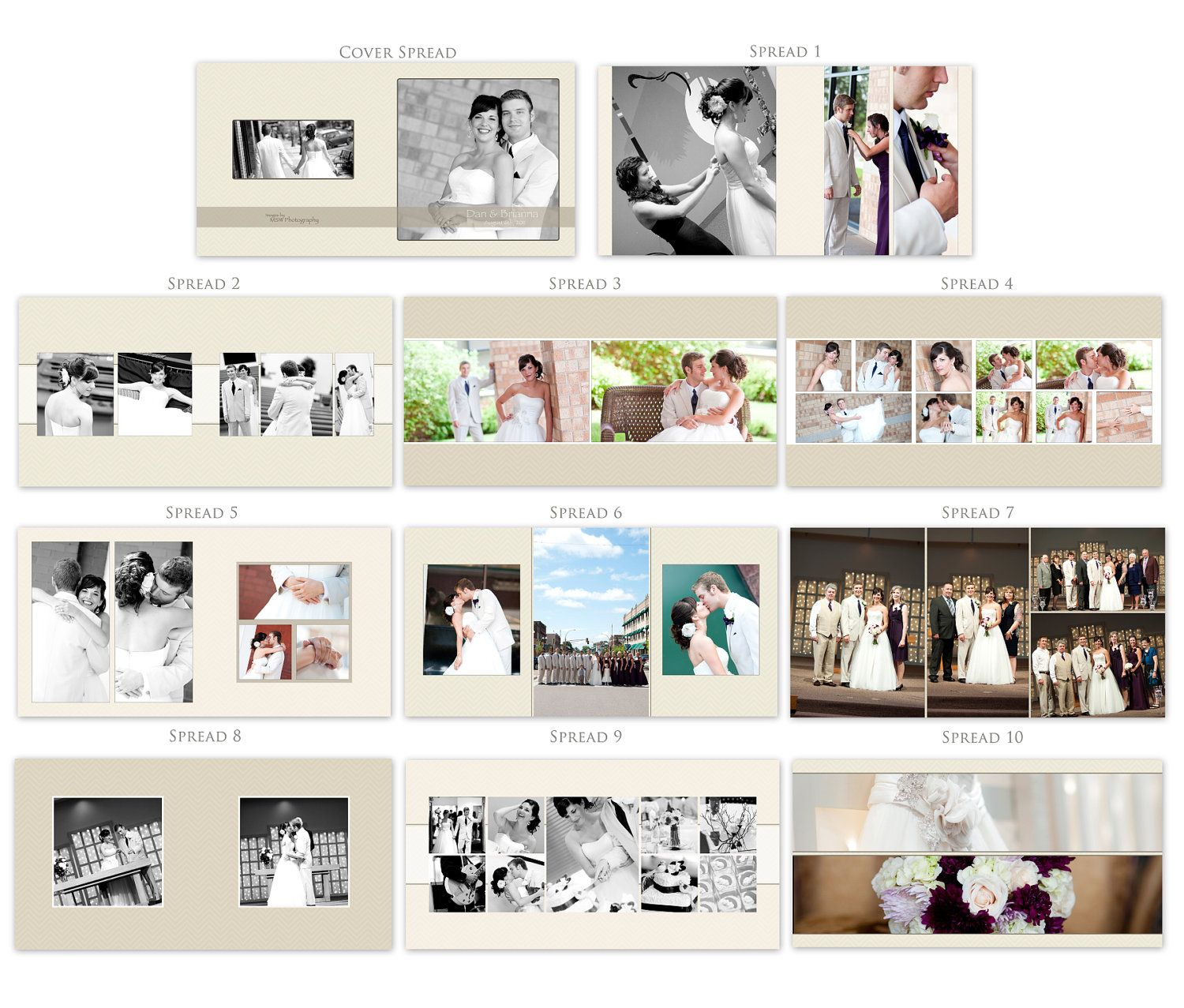 Wedding Album Design Template - Digital Photoshop Templates ...