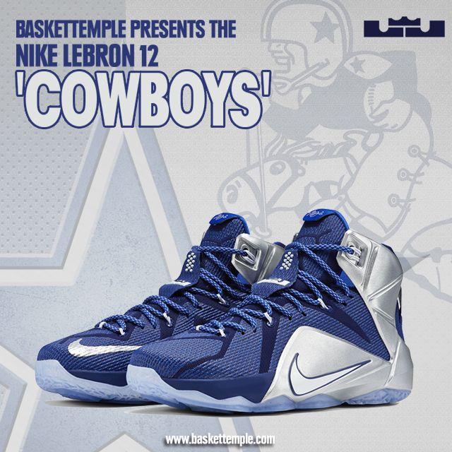 """20b6a37618b0e Lebron 12 What if  Dallas Cowboys  684593-410 Nike LeBron 12 """"Cowboys"""" Deep  Royal Blue White-Metallic Silver-Lyon Blue 684593-410 March 14"""
