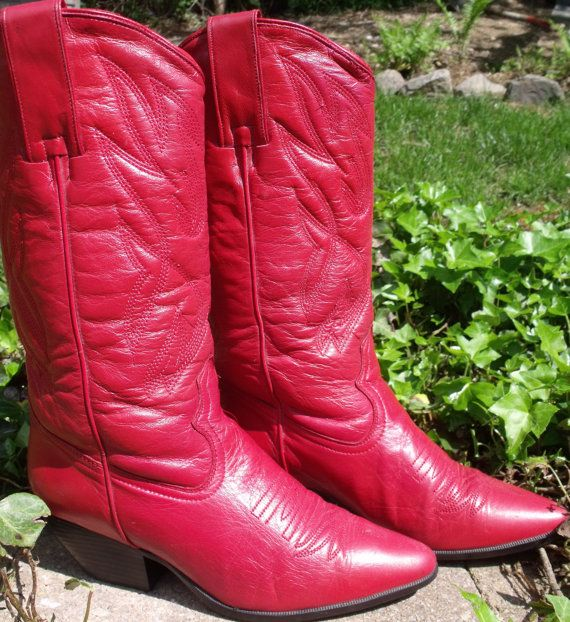 BUY NOW!!  RED COWBOY BOOTS western stitching red boots by OutOfMyMamasAttic, $49.99
