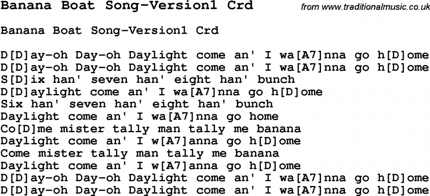 Skiffle Song Lyrics for Banana Boat Song-Version1 with chords for ...