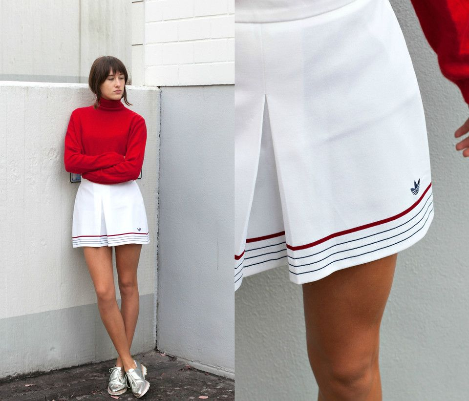 Sonja Rychkova Adidas Tennis Skirt Turtleneck Pullover Zara Silver Shoes Tennis Skirt White Tennis Skirt Tennis Outfit Women Tennis Clothes