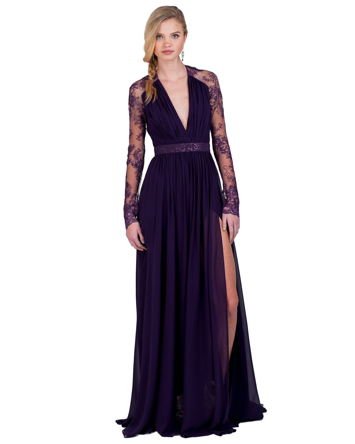 EG1340 Long-Sleeve Lace Evening Gown by Badgley Mischka | style ...