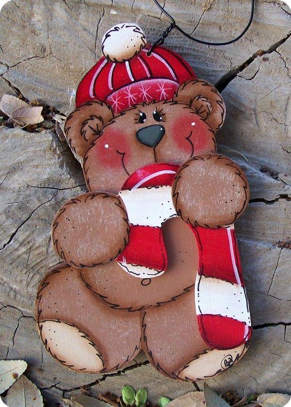 Sweet bear ornament by countrycharmers on etsy basteln weihnachten holzarbeiten und - Holzarbeiten weihnachten ...