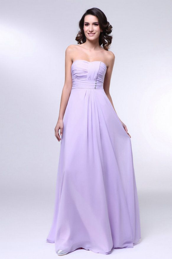 Good Quality Strapless Chiffon Lilac Bridesmaid Dresses ...