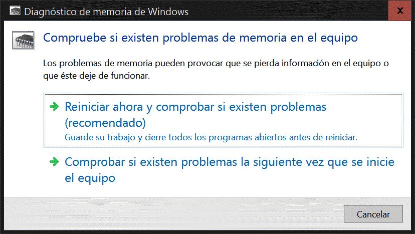 Diagnóstico de memoria RAM