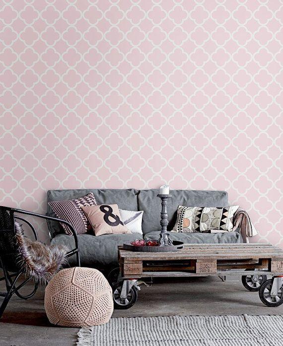 Self Adhesive Light Pink Vinyl Wallpaper Wall Sticker Quatrefoil Pattern C007 Pink Vinyl Wallpaper Vinyl Wallpaper Pink Geometric Wallpaper