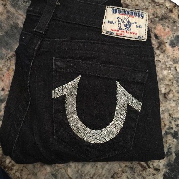 True Religion Black Skinny Jeans Brand Symbols Dark Denim And