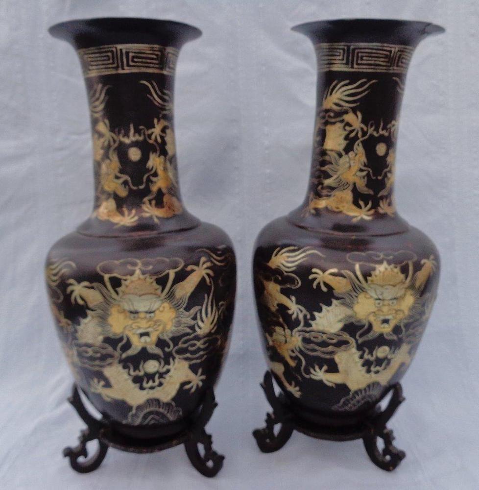 Antique pair chinese papier mache vases on stands hand gilded antique pair chinese papier mache vases on stands hand gilded dragons c 1900 reviewsmspy