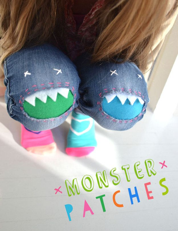 Repair torn knees with monster patches. | 25 DIY Projects That Will Fill You With Joy