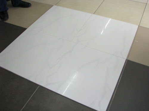 Polished Porcelain Carrera White Wall Floor Tiles Marble Effect