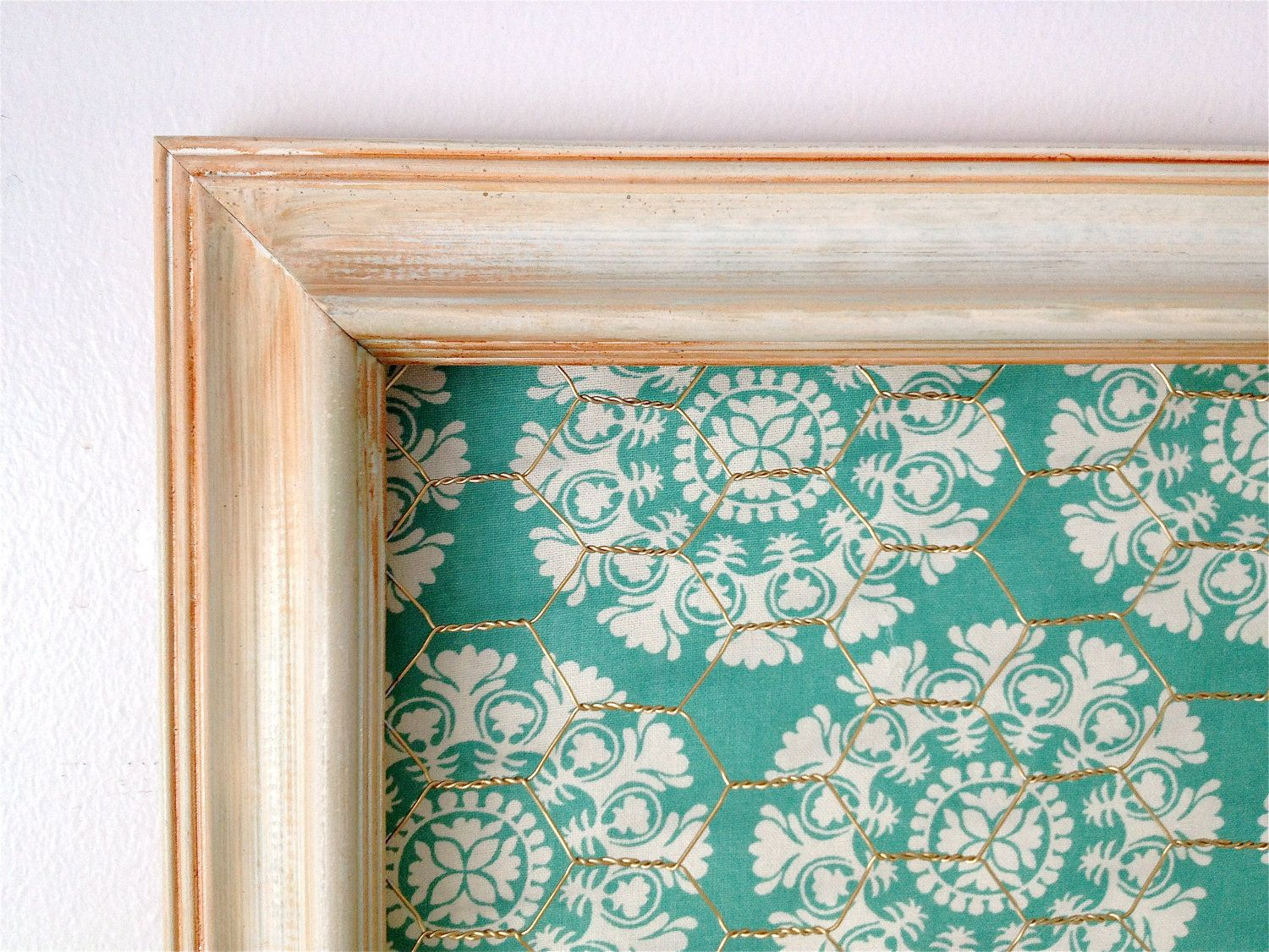 Distressed off white Chicken Wire Frame with teal fabric ...