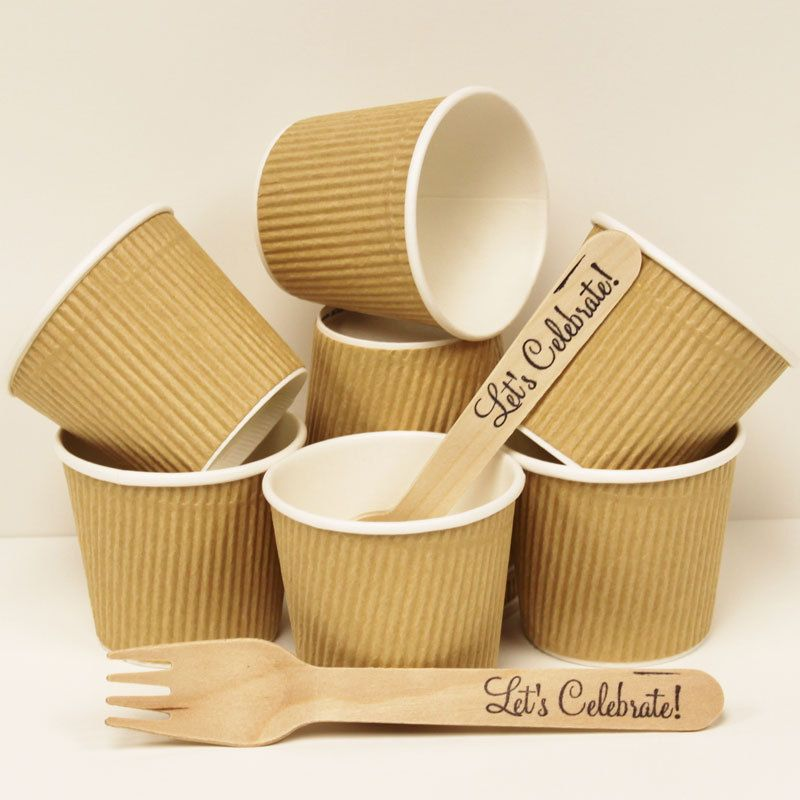 Brown kraft paper ice cream cup and dessert cup with diy for Paper containers diy