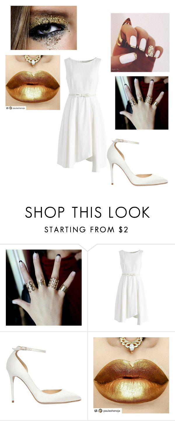 """""""White and Gold."""" by katrinaevans-i ❤ liked on Polyvore featuring Chicwish and Jimmy Choo"""