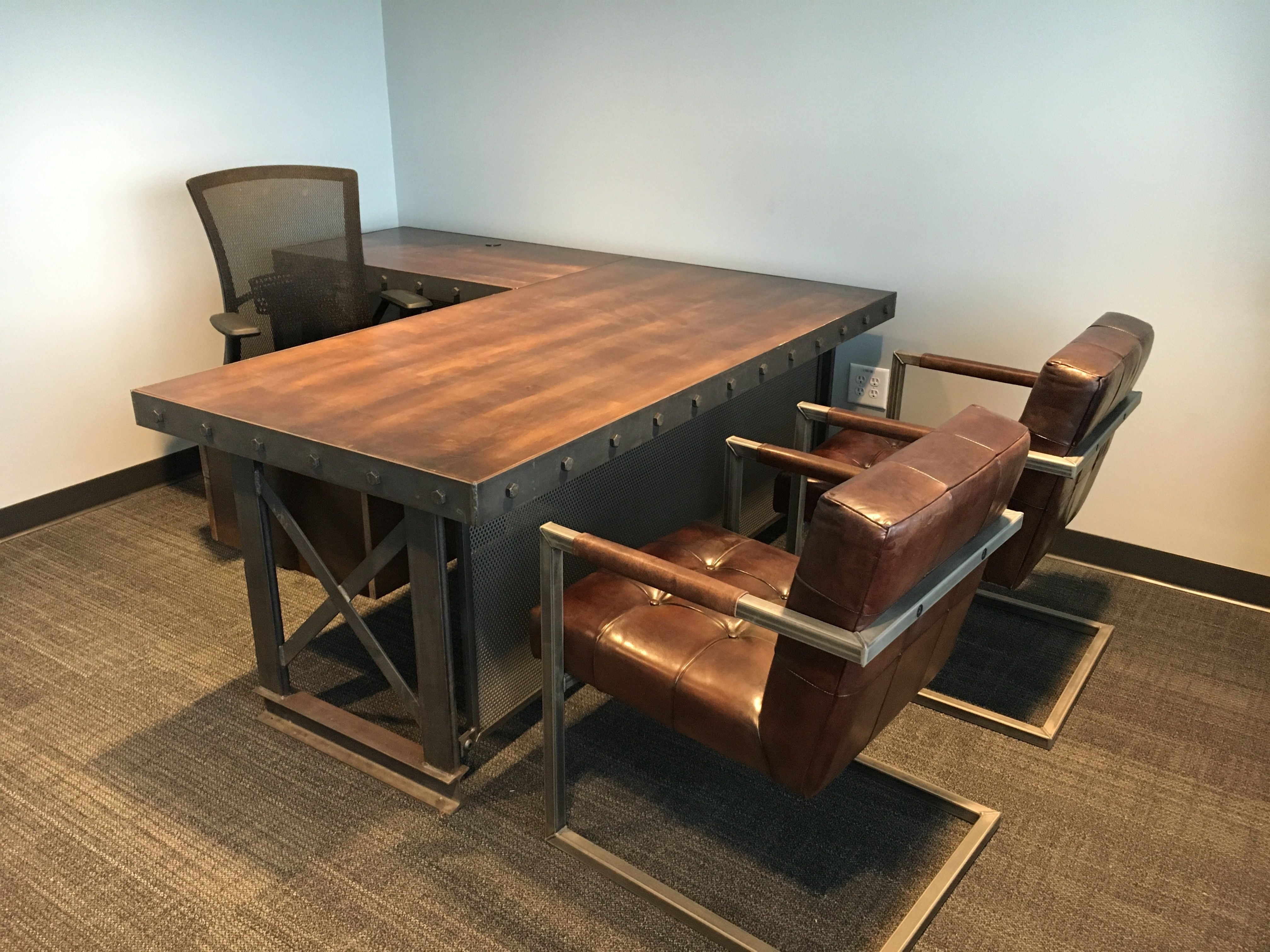 The Hybrid Industrial Executive Office Desk - L shape # ...