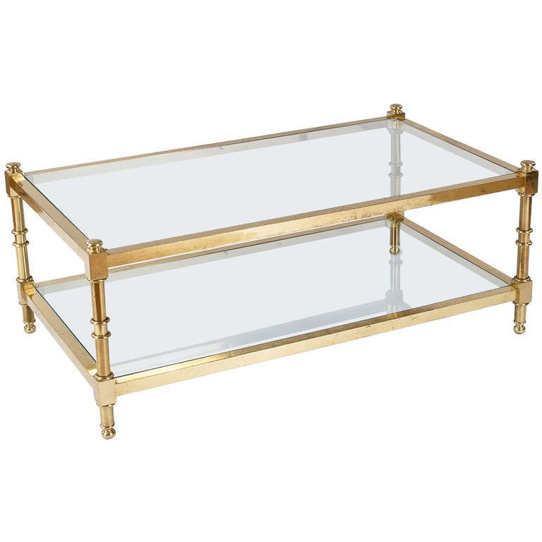 French Vintage Brass Coffee Table