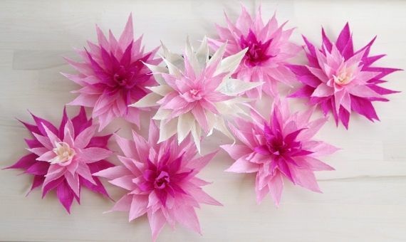 Paper flower table decoration wedding table decor crepe paper paper flower table decoration wedding table centerpiece crepe paper dahlia or waterlily flower mightylinksfo