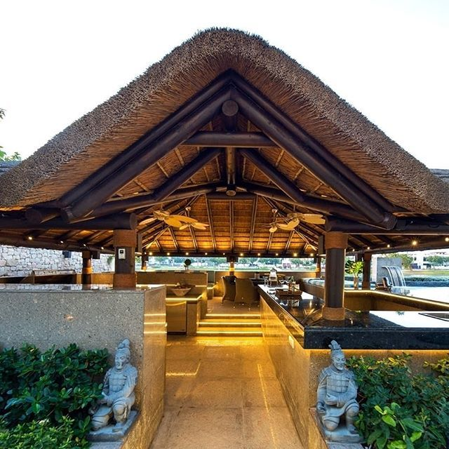 Outdoor Kitchen With Thatched Gazebo Outdoor In 2019: Outdoor Living At Home With A Thatched Gazebo, Outdoor