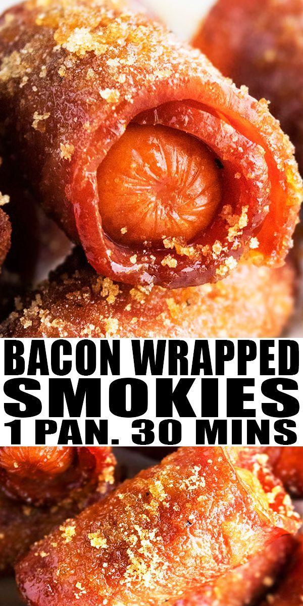 Bacon Wrapped Smokies- One Pan BACON WRAPPED SMOKIES RECIPE- With brown sugar. Quick, easy, oven ba