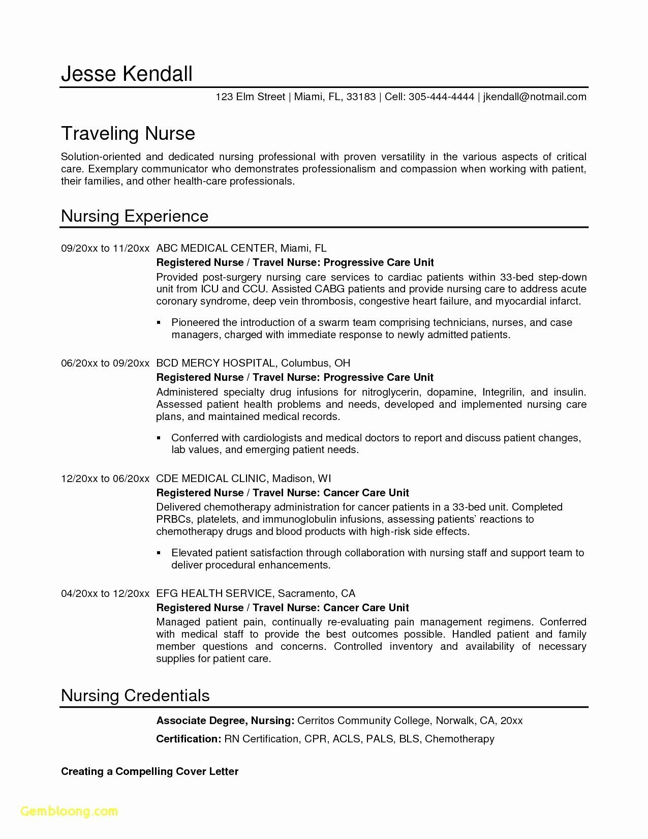 Registered Nurse Cover Letter Template Fresh Letter Collaboration Template Examples Nursing Resume Examples Cover Letter For Resume Nursing Resume