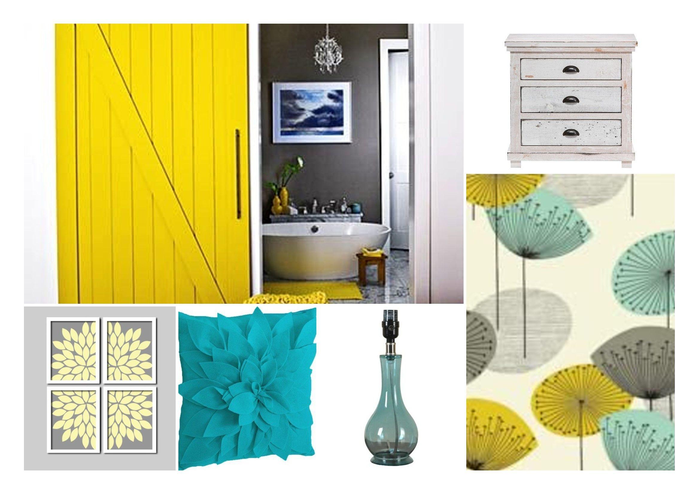 Master Bedroom - Yellow, Grey, Teal | decor | Pinterest | Bedroom ...