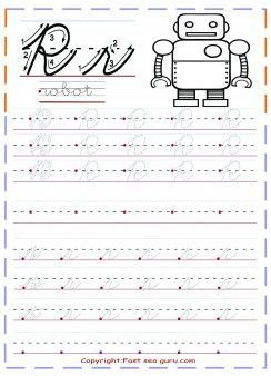 Free Printables Cursive Handwriting Tracing Worksheets Letter R For Robot