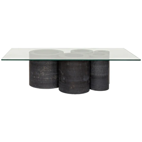 Noir Golyath Coffee Table Black Stone And Glass In 2020 Cool