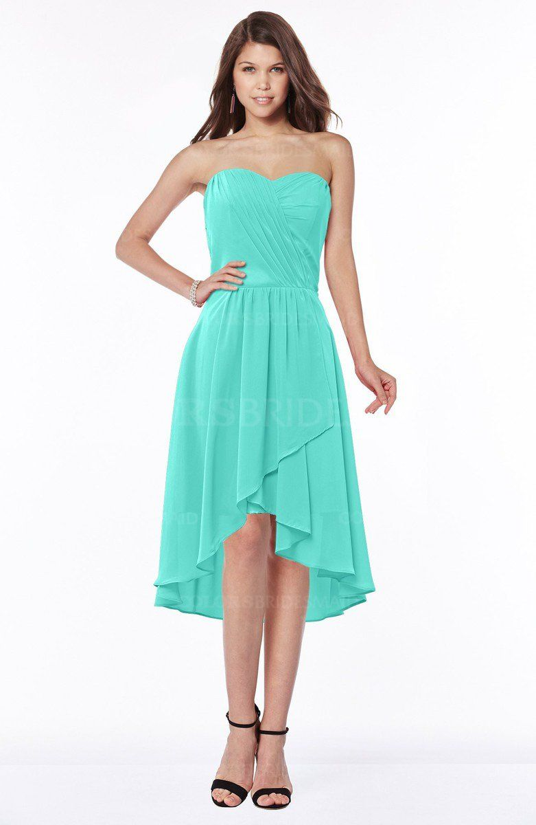 Blue Turquoise Mature A-line Strapless Chiffon Knee Length Ruching ...