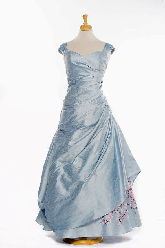 Blue Wedding Dress with Cherry Blossom Embroidery | Cherry blossoms ...