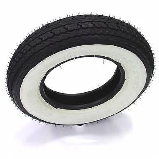 the classic looking white wall tyre is a firm favourite for that old school look it has an open block pattern scooter tyre with good grip performance even