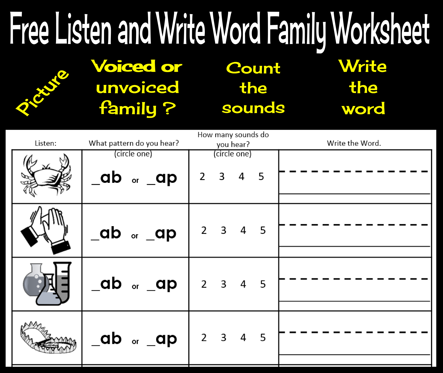 Free Listen And Write Word Families Book 1 Sample Page