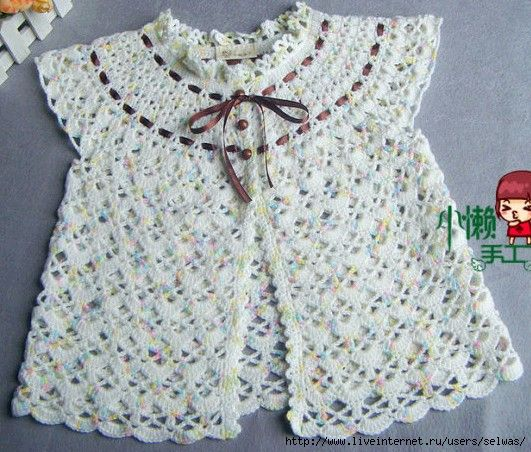 Crochet Baby Robe Pattern : Dress robe on round yoke for baby crocheted / 4683827 ...