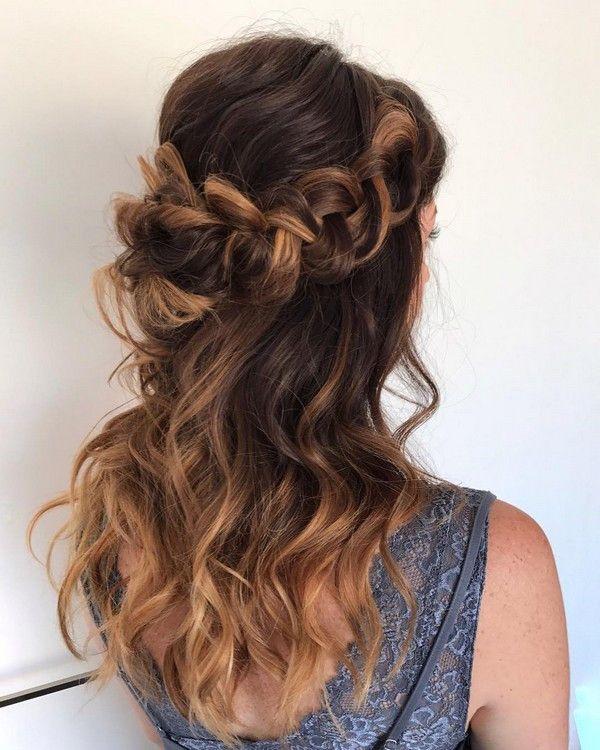 braided half up half down wedding hairstyle | Cute wedding hairstyles, Hair styles, Wedding hair ...