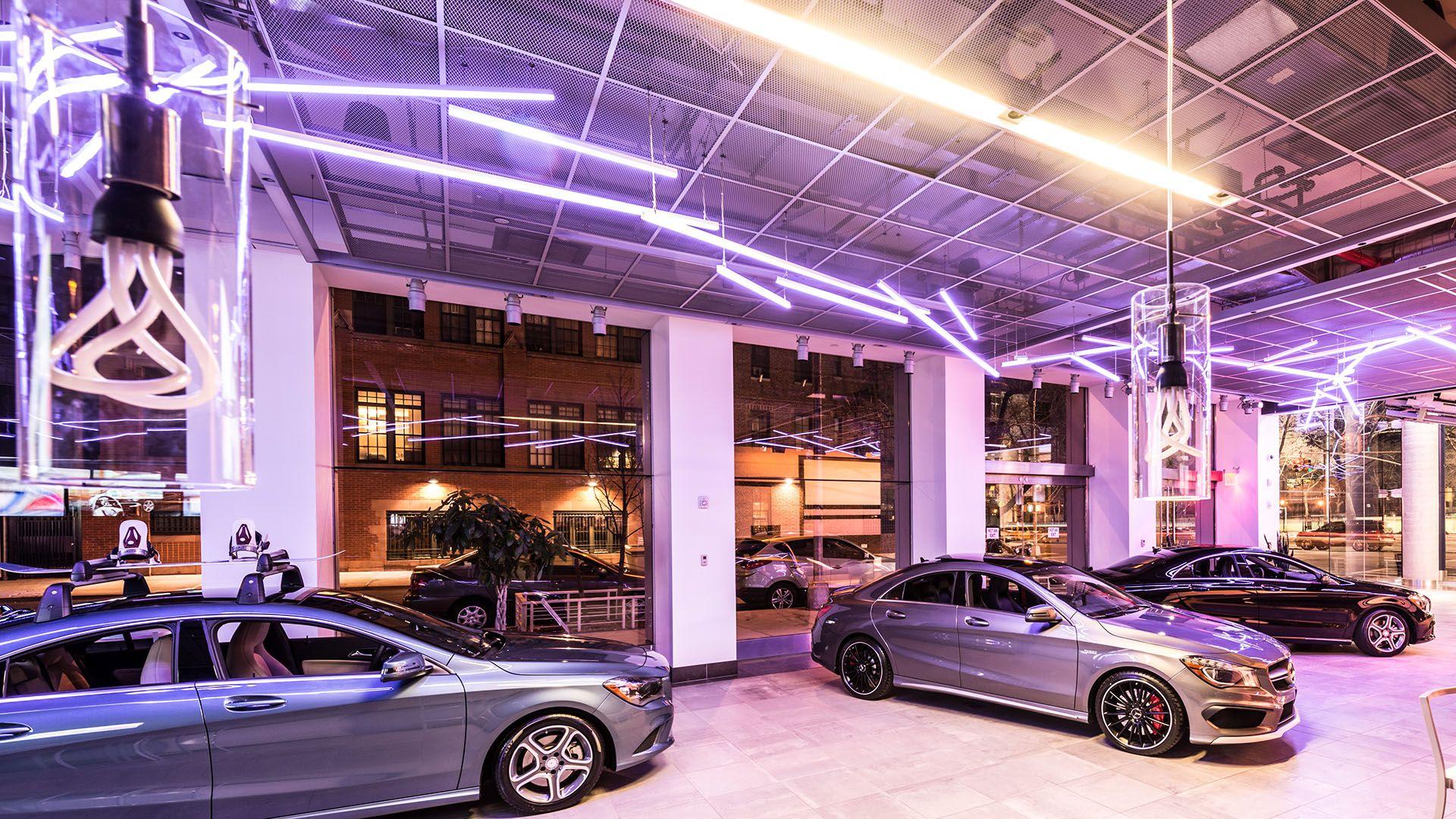 Lighting design for mercedes car dealership car