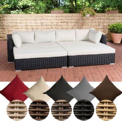 Poly-Rattan Lounge Sofa   Bett TERRASSA, 4er Sofa + 2 große Hocker - gartenmobel lounge polyrattan