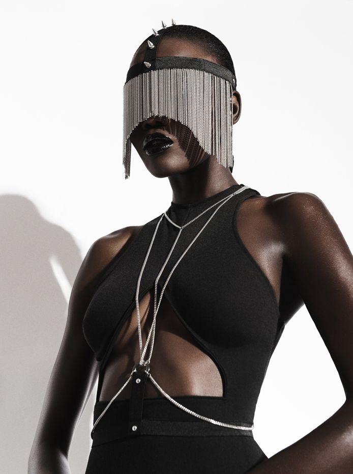 Photographer: Vincent Macher   Designer: Datura Alchimilia (Absainte)   Hair: Damien Slash   Makeup: Yoan Perez   Model: Rama Diouf
