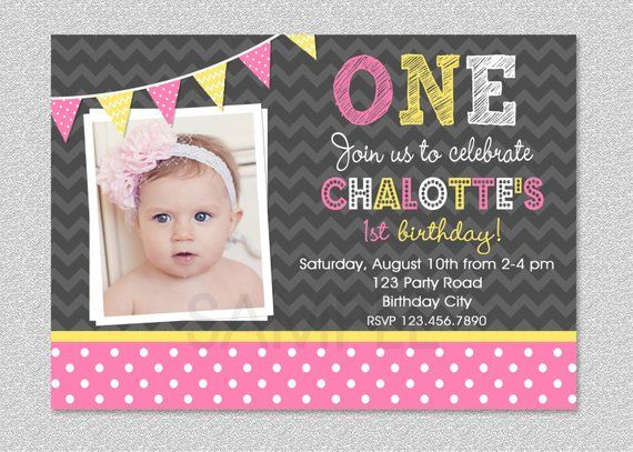 Pink And Yellow Birthday Invitation Girls 1st Childrens Invitations