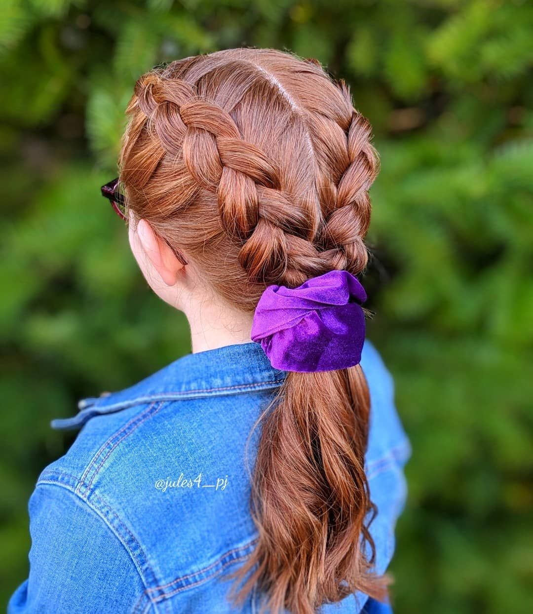 Two Dutch Braids Into A Low Ponytail Easy Braids Simple Braids Quick Braids Two Dutch Braids Low Ponytail Quick Braids