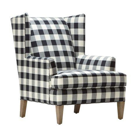 Ethan Allen Parker Chair In Black Cream Buffalo Check