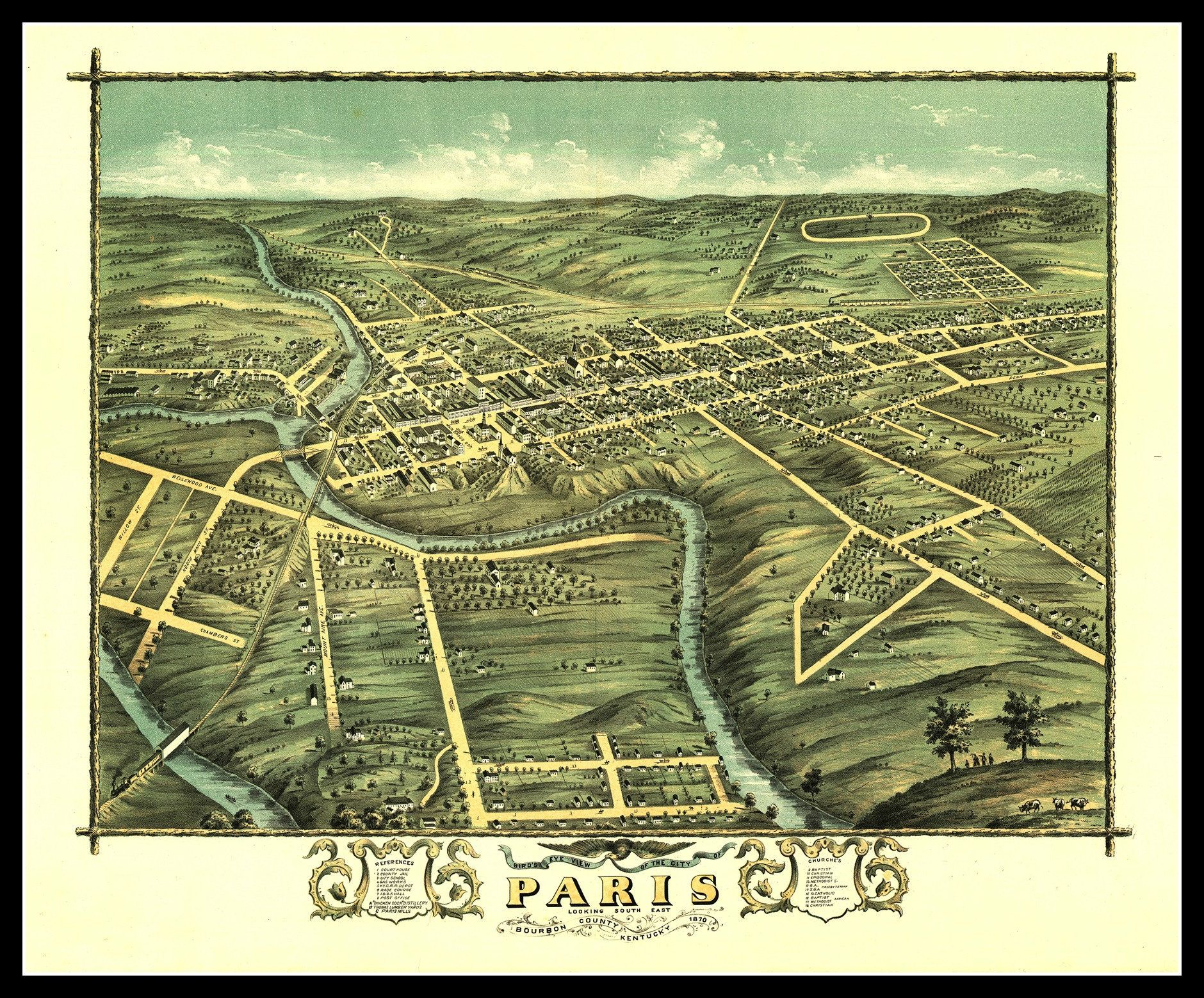 Dayton Ohio; Antique Map; Pictorial 1870 Perspective or Birdseye Map
