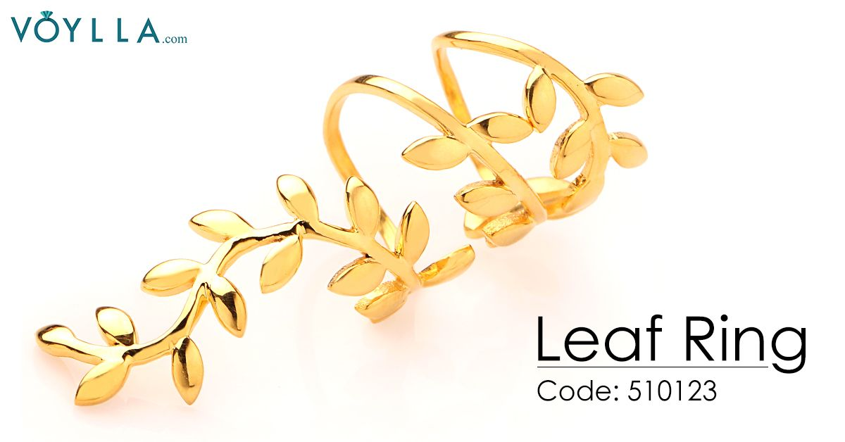 ADORABLE GOLD PLATED LEAF INSPIRED FULL FINGER RING Product Code