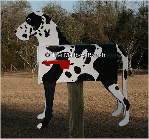 Unique Handmade Natural Eared Great Dane Dog Mailbox Great Dane
