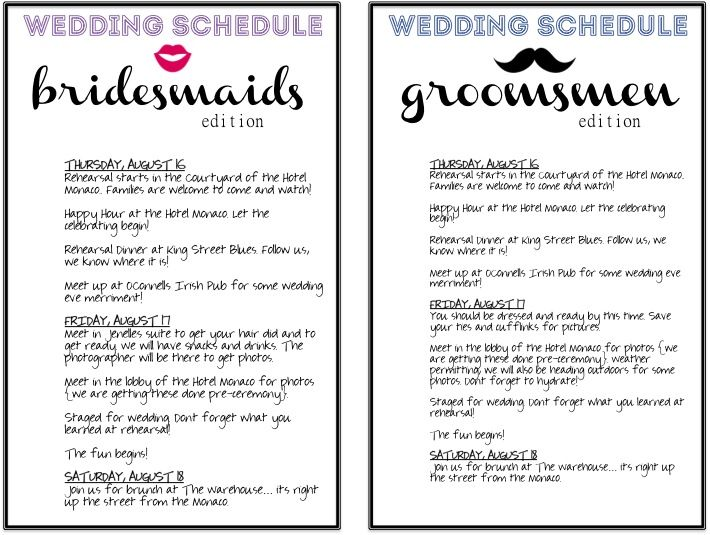 The Botts-Net gifts for the wedding party wedding ideas - wedding schedule template