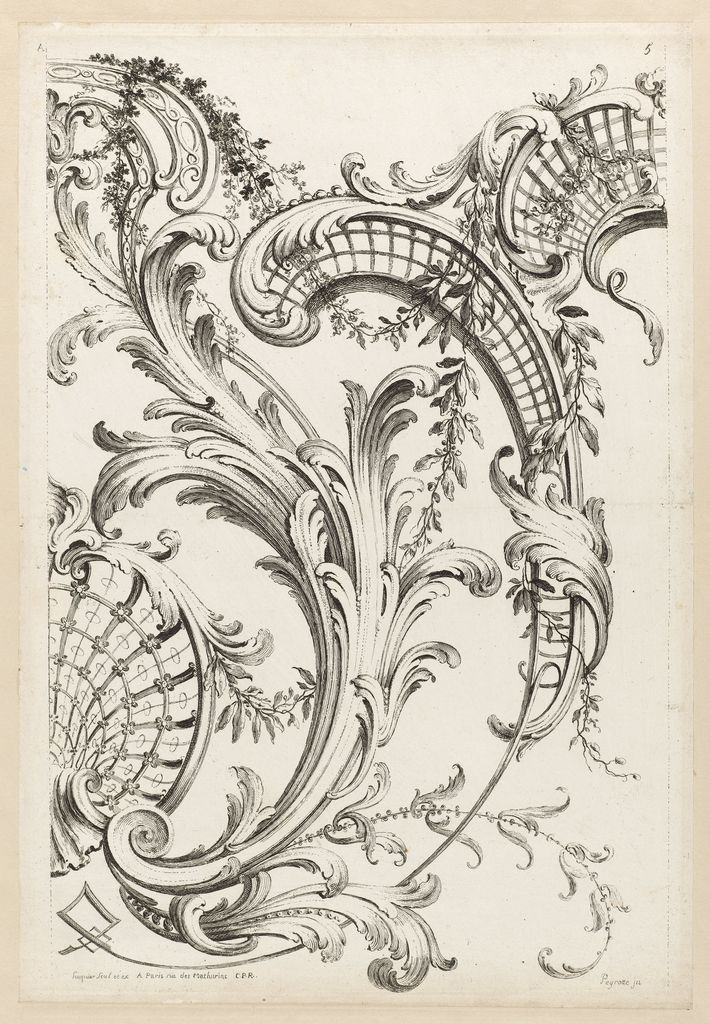 Print quot shell cartouches and acanthus leaf motif