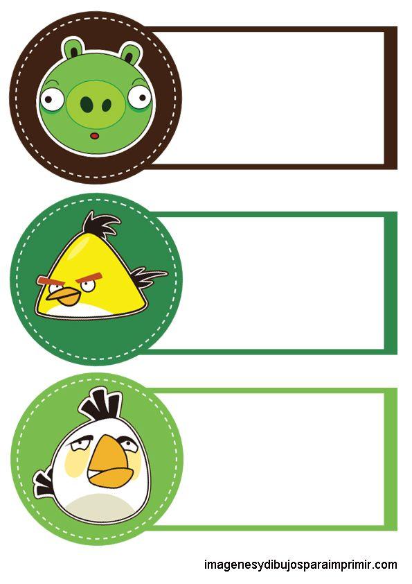 los personajes de angry birds en cuadernos | Distintivos mesa y ...
