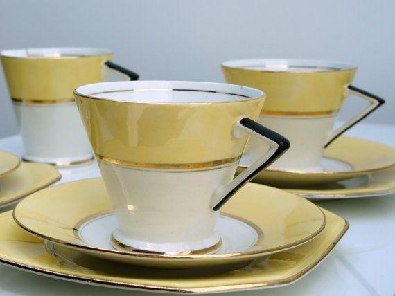 Delightful Palissy Tea Set Art Deco Style Mayfair By Lateron Tea Set Vintage Tea Crockery