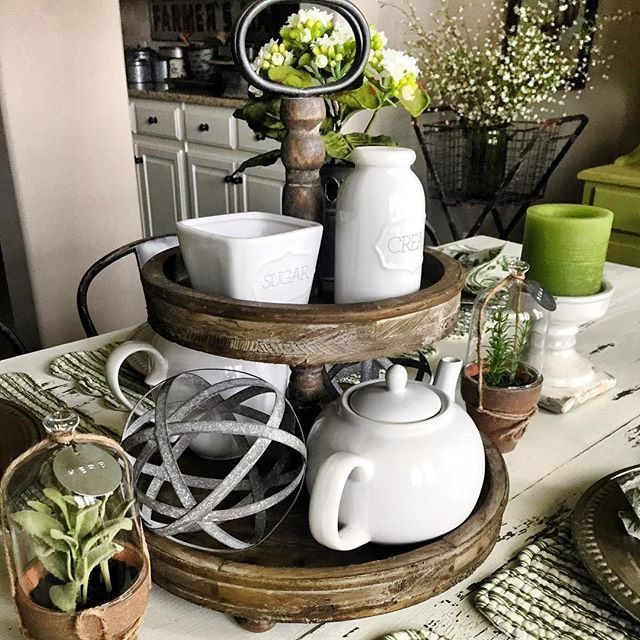 Kitchen Tea Decoration Ideas: Wooden Two Tiered Stand
