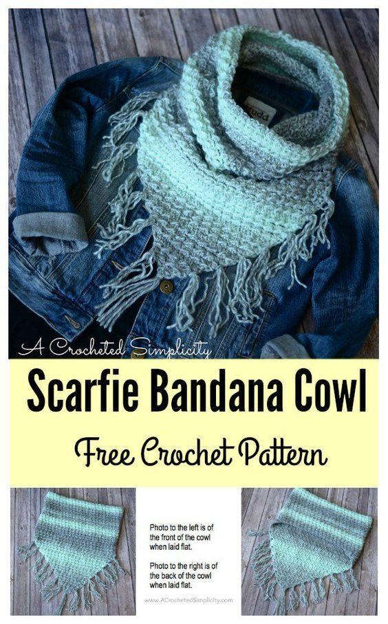 Scarfie Bandana Cowl Free Crochet Pattern Free Crochet Bandanas